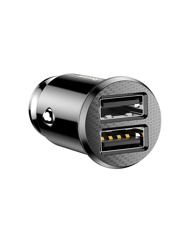 Автомобільна зарядка Baseus 2 USB 3.1A grain car charger black, Черный