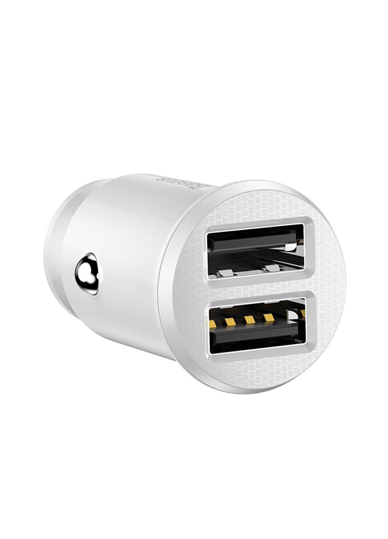 Автомобільна зарядка Baseus 2 USB 3.1A grain car charger white, Білий